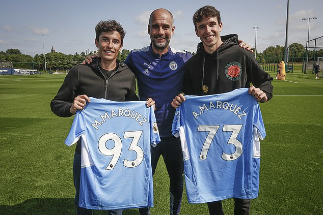 Marquez (left) visited Guardiola's (middle) City alongside his motorsport brother Alex (right)