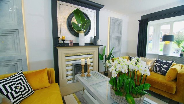 He opted for vibrant decor, re-worked the fireplace and chose a white, yellow and black colour scheme