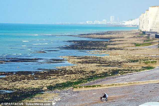 Beautiful: The Sussex coastline boasted a scenic view from the latest on set snaps