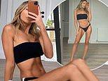 Nadia Bartel works all her best angles in a black bikini amid Melbourne's lockdown