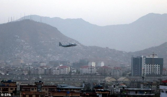 A military aircraft takes off at the Hamid Karzai International Airport, in Kabul, Afghanistan, 26 August 2021