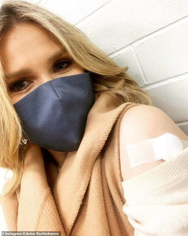 Getting the jab: Sunrise's Edwina Bartholomew revealed that after extensive research she decided that the Pfizer vaccine was right for her. Pictured is Edwina getting her jab this week
