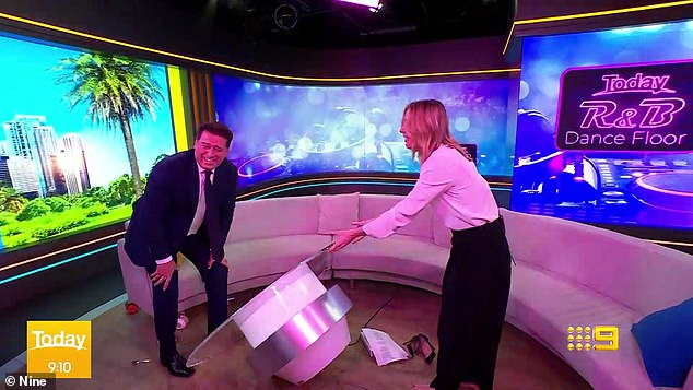 'Were you trying to twerk?' Karl Stefanovic wreaked havoc on the Today show set on Friday as he tried to dance, causing him to accidentally tip over a coffee table and make a mess