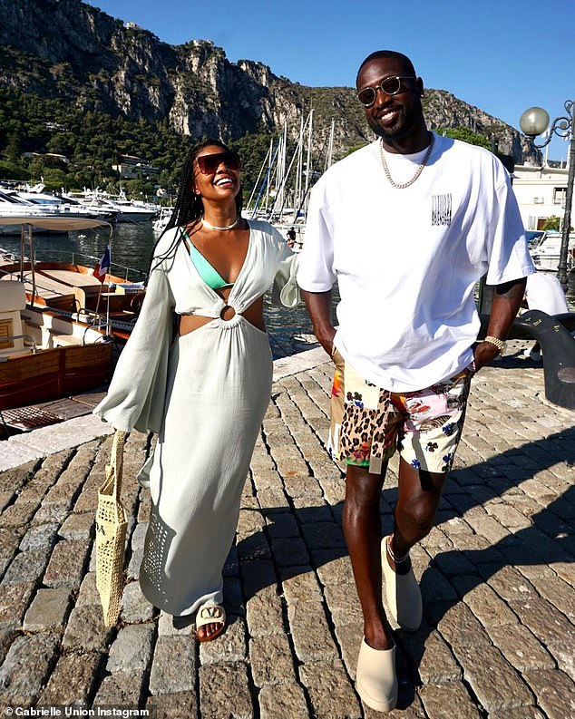 Whirlwind summer holiday: Gabrielle Union, 48, and husband Dwyane Wade, 39, were the picture of summer style when they soaked in the sights of the latest stop amid their Mediterranean vacation dubbedthe '#WadesWorldTour2021'