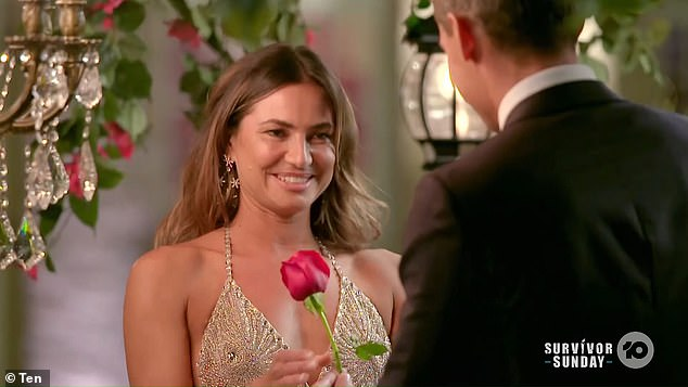 Another rose: Despite Rochelle's revelation about her bestie's dreams of finding fame after The Bachelor, Jimmy gave Jay the benefit of the doubt once more at the rose ceremony