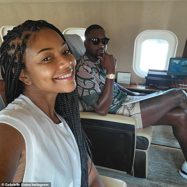 Let the fun begin: Union marked the beginning of their Mediterranean vacation with photos taken aboard their flight overseas back on August 15