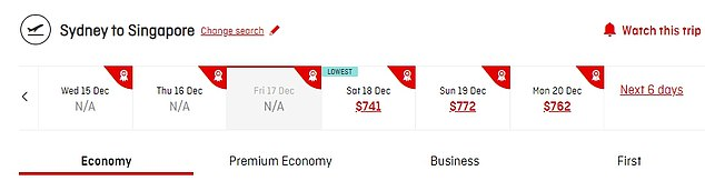 Some overseas flights are cheaper than flying to parts of regional Australia. An economy one-way flight from Sydney to Singapore on December 18 on Thursday was available for $741