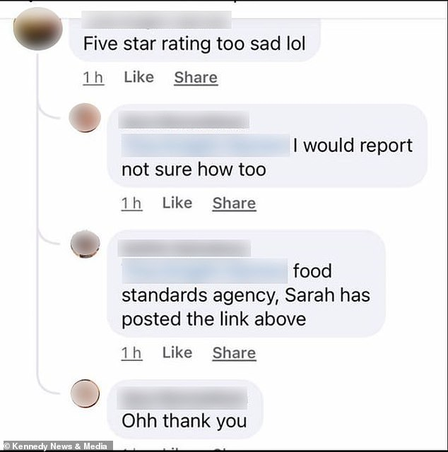 One commenter told people to visit the 'food standards agency' to report the cafe