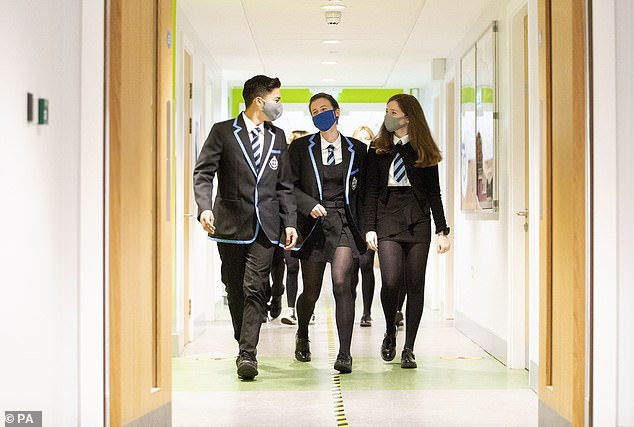 Pupils in parts of the South West and Northamptonshire are already wearing face masks in schools (stock image, above)