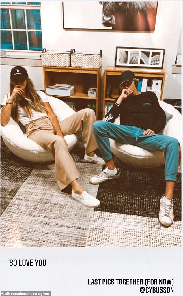 'So love you. Last pics together (for now)':Elle Macpherson, 57, has taken her youngest son Cy Busson to Babson College in Massachusetts. Both pictured