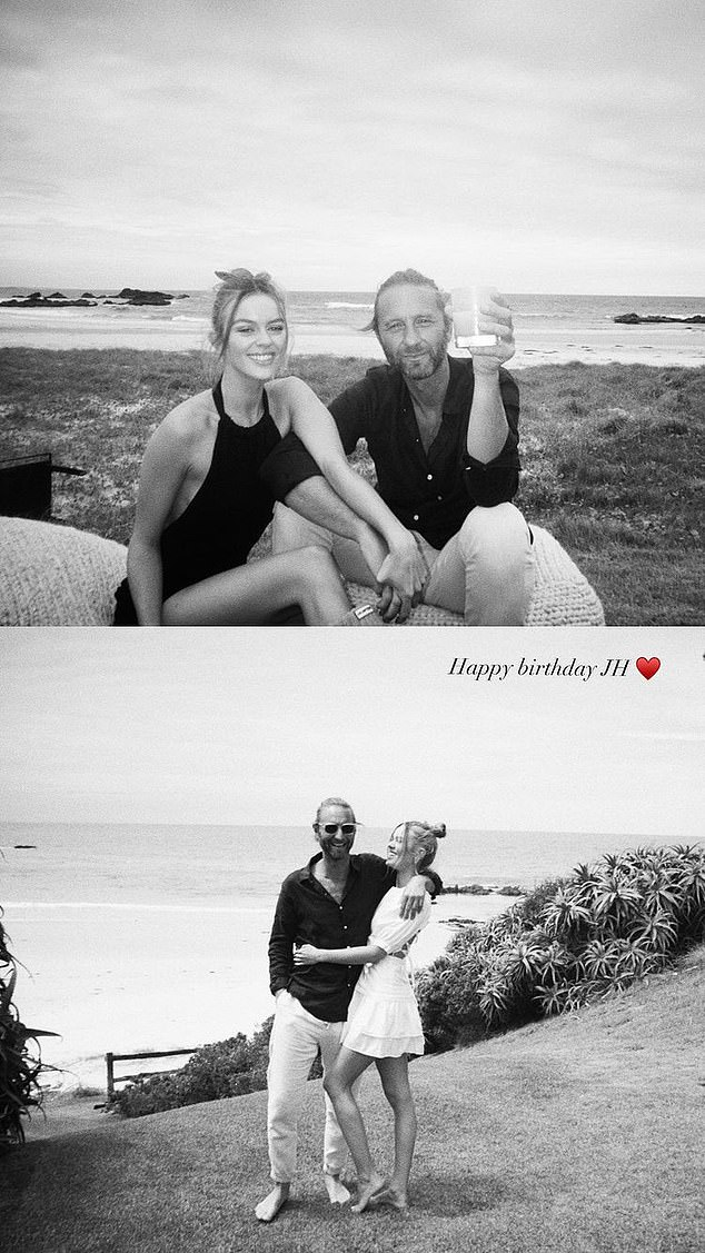 Sweet:'Happy birthday' she captioned the sweet set of images, which showed the couple embracing
