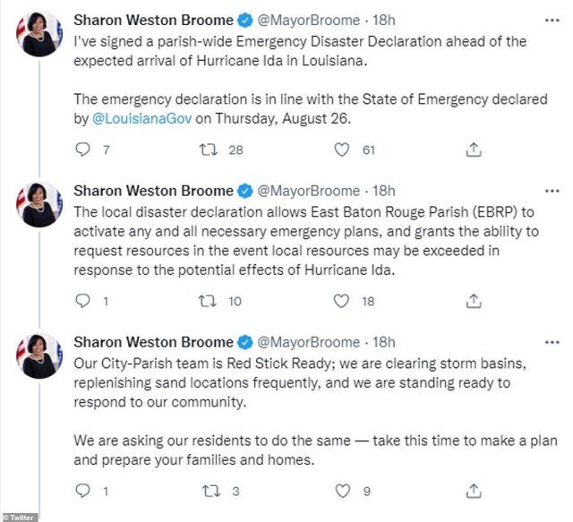 Baton Rouge Mayor Sharon West Broome signed an emergency disaster declaration in preparation for Hurricane Ida's landfall