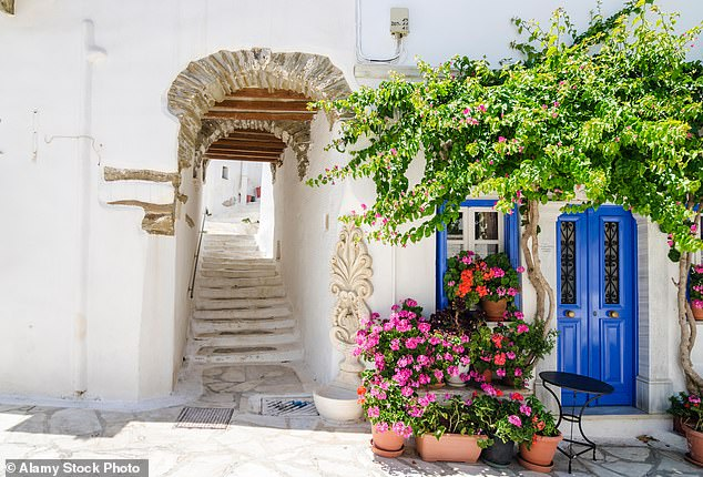 Sunny outlook: The archway of a house in Pyrgos, which is named 'the marble village' in Tinos