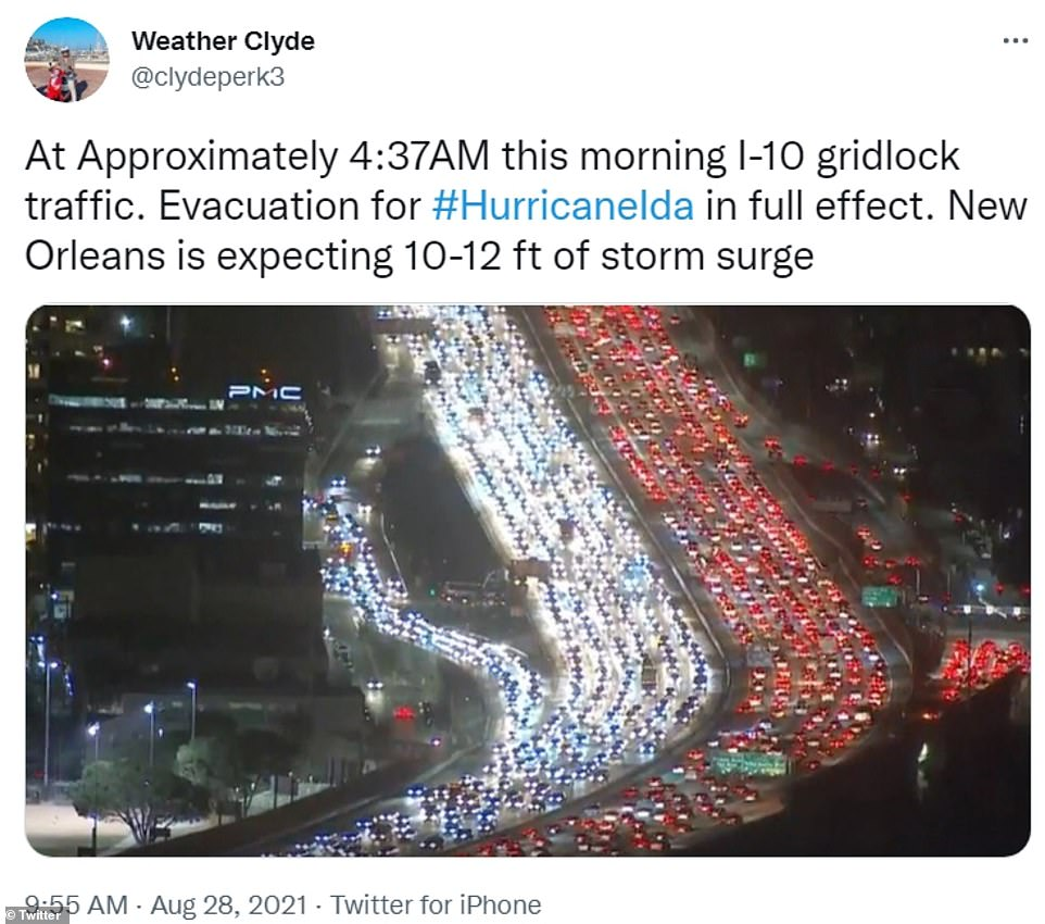 'Expect heavier than normal congestion in New Orleans and the surrounding areas due to Hurricane Ida evacuations,' the Louisiana Department of Transportation and development advised in a 7:38 am post to Twitter.