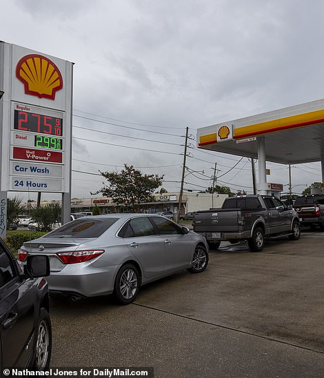 Lines at gas stations flowed into the streets in New Orleans
