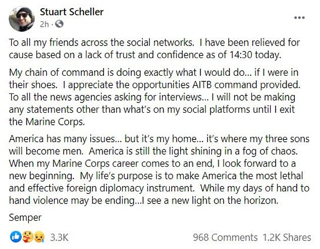 The follow-up post to the video where Scheller said he was relived of his duty
