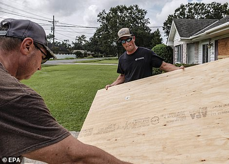 'Extremely life-threatening inundation of 9 feet or greater' has been predicted from Morgan City, Louisiana to the Mississippi coast. 'Potentially catastrophic wind damage' is forecasted, too, and the NHC said today that 'actions to protect life and property should be rushed to completion today in the warning area'