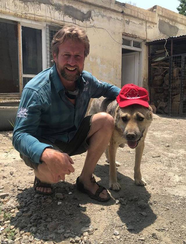 Pen Farthing (pictured), who flew back to the UK last night with his menagerie of animals rescued by the Nowzad charity, has also been accused of ¿bullying¿ British Government officials