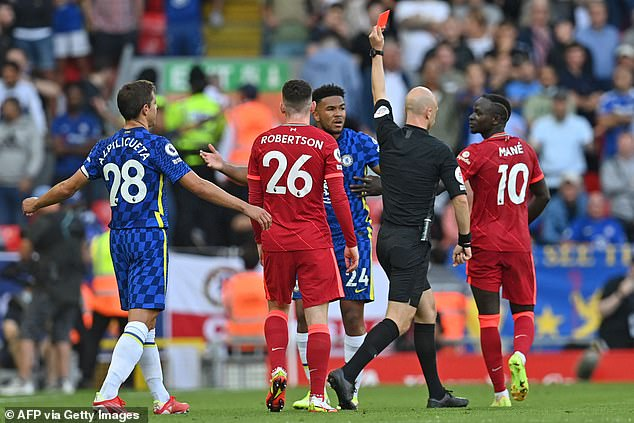 Taylor wasted little time in brandishing the red card as Chelsea fiercely protested the decision