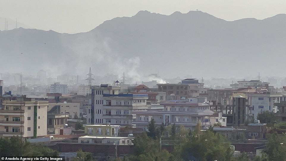 Smoke rises after an explosion in Kabul, Afghanistan on August 29, 2021