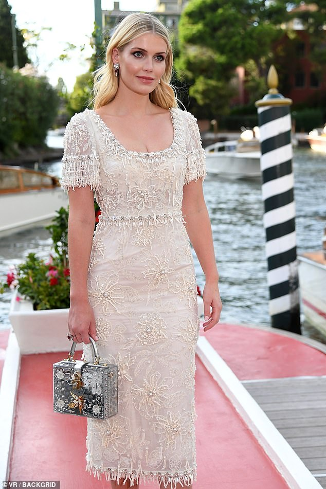 Stunning: Lady Kitty Spencer, 30, looked radiant in a gorgeous cream knee length dress which boasted sequin florals and dripped in beading