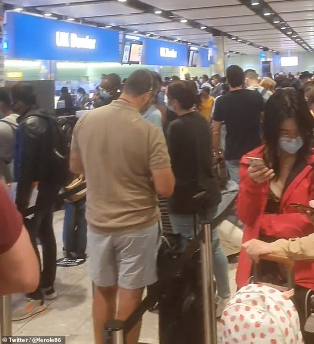 Irate passengers said they were left queuing for more than three hours to get through passport control with no social distancing