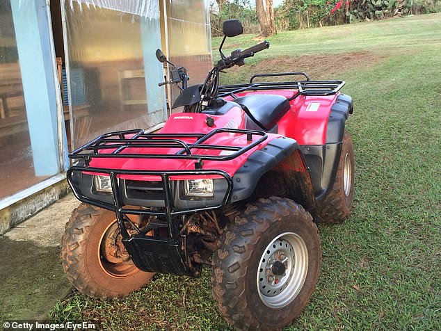 It is believed that both the quad bike (pictured) and the car were bought for the children by Adrian with his share of the £148million jackpot he won with Gillian in 2012.