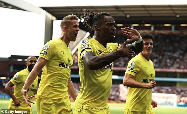 Ivan Toney of Brentford celebrates after scoring against Aston Villa on Saturday