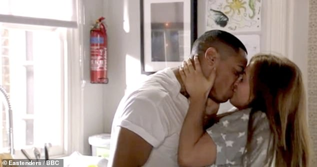 Steamy: Their charactersTiffany Butcher and Keegan Butcher-Baker are in a relationship on the soap (pictured)