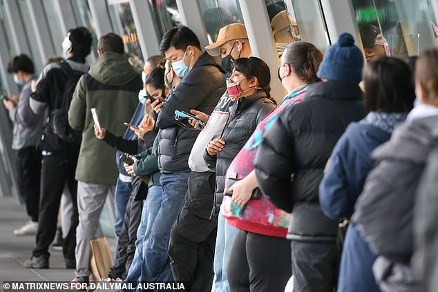 Melburnians line up at a vaccination centre on Sunday (pictured)