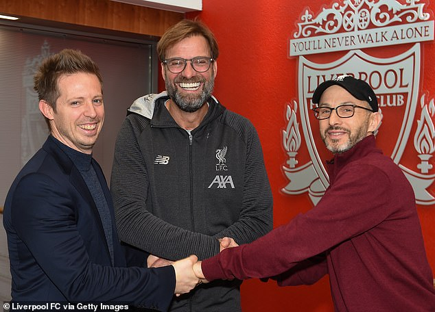 Liverpool sporting director Michael Edwards (left, pictured with manager Jurgen Klopp and owners FSG's president Mike Gordon) will reportedly leave the club next summer