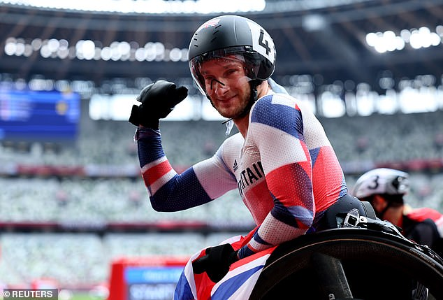 The ParalympicsGB star gave a clenched fist in celebration after a brilliant ride on Monday