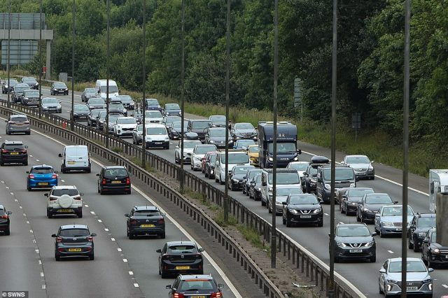 Bank Holiday Monday traffic on M5 junction 8 near Birmingham. The AA said traffic levels returned to pre-pandemic levels today