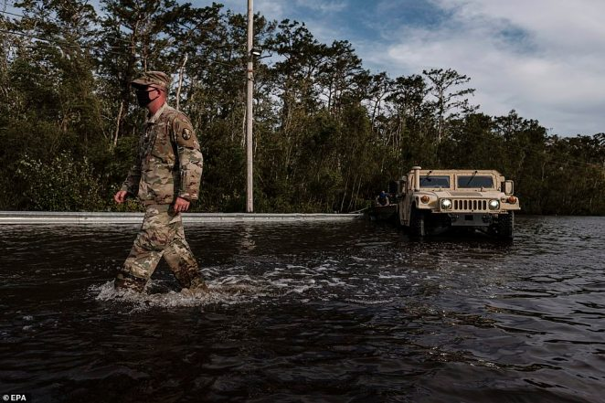 Louisiana National Guard assist in search and rescue missions related to flooding from Hurricane Ida in Jean Lafitte, Louisiana