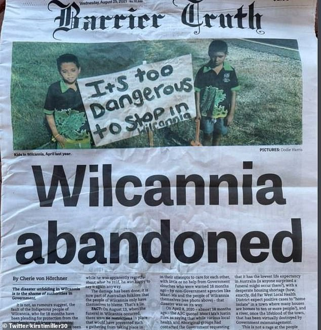 NSW Health Minister Brad Hazzard said the failure of the federal government to vaccinate NSW Indigenous communities last year was 'obviously disappointing'. PIctured: A newspaper article about the crisis in Wilcannia