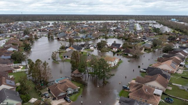 Flooded streets and homes are shown in the Spring Meadow subdivision in LaPlace, Louisiana after Hurricane Ida moved through over the weekend