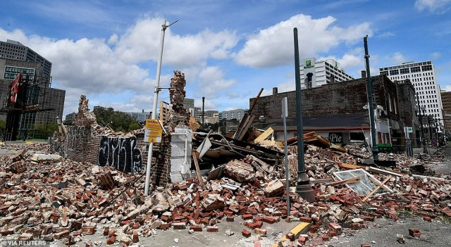 The remains of the iconic Karnofsky Shop are seen on Monday after Hurricane Ida blew through over the weekend