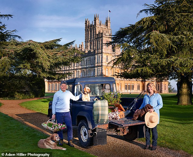 Lady Carnarvon shared her appreciation for all the seasons at Highclere Castle. Pictured:Lord and Lady Carnarvon preparing to picnic