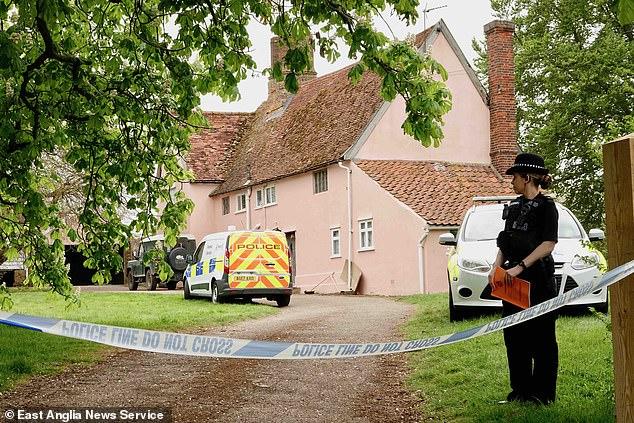 Police at the scene after gun dealer Peter Hartshorne-Jones shot dead his wife