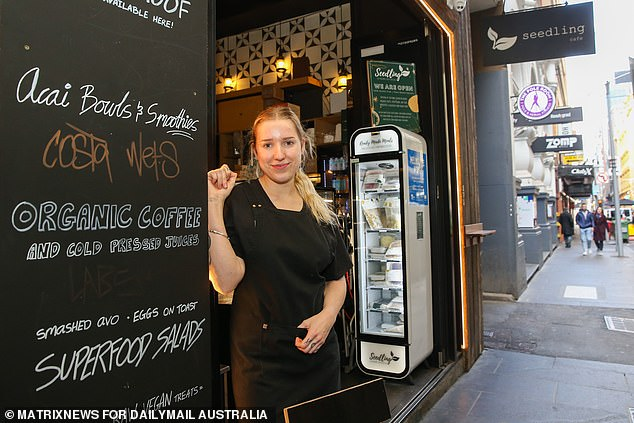 A 'soft opening' for some businesses in the coming weeks might be on the cards as well as allowing alfresco dining at cafes and restaurants (pictured, theSeedling Cafe in Flinders Lane Melbourne on July 9)