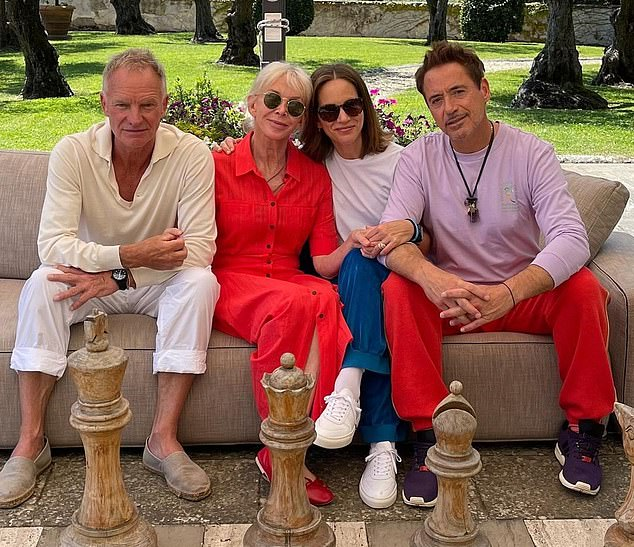 Sting is putting his troubles behind him by going on a double date with Hollywood star Robert Downey Jr and their wives