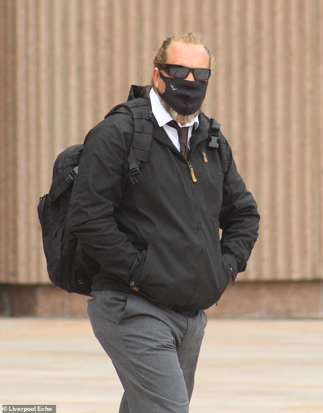 Former paramedic Scott Sutherland, 47, from Ivybridge, near Plymouth, pleaded guilty to two counts of theft and two counts of burglary after raiding supplies at ambulance stations. Pictured: Leaving Liverpool Crown Court on Friday
