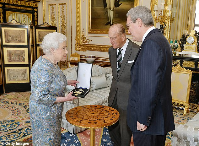 Mr Downer (pictured with Queen Elizabeth and Prince Philip) is now based in London after taking up the post of Australian High Commissioner to the United Kingdom from 2014 to 2018 and then transitioning into a role as an international policy consultant
