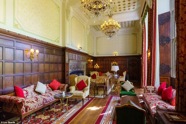 Bed and breakfast doubles at Thornbury Castle are priced from £229. Pictured here is the hotel's lounge