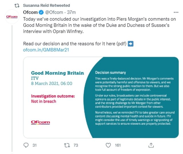 Mr Morgan's former co-host Susanna Reid retweeted the Ofcom result today in tacit support of her friend