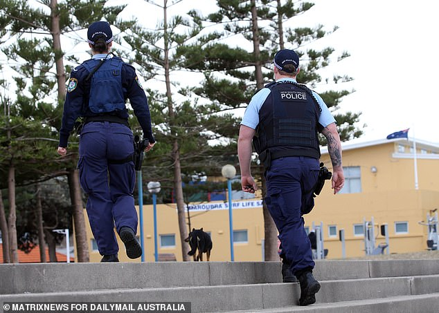 Fines were handed out to nine men aged between 18 and 24 after attending an illegal gathering on Malabar Headland (pictured, police patrol Maroubra Beach)