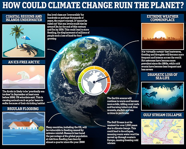 A UN report published in August said that if temperatures continue to rise, there could be devastating effects on Earth, including a dramatic loss of sea-life, an ice-free Arctic and more regular 'extreme' weather