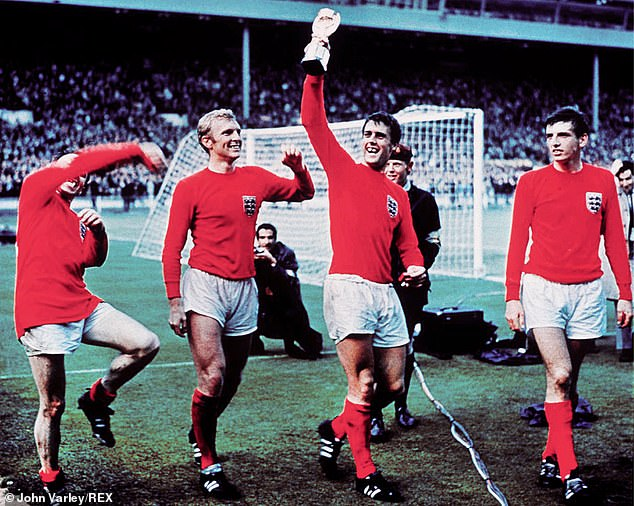 Sir Geoff (third right) scored a hat-trick for England in the 1966 World Cup final with Germany