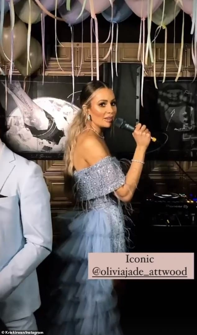 Beautiful: Parading around in a baby blue asymmetrical ruffle dress, which had intricate lace detailing and an impressive flowy bottom that sat on the floor, the influencer made sure to mingle with all of her guests and make them feel welcome