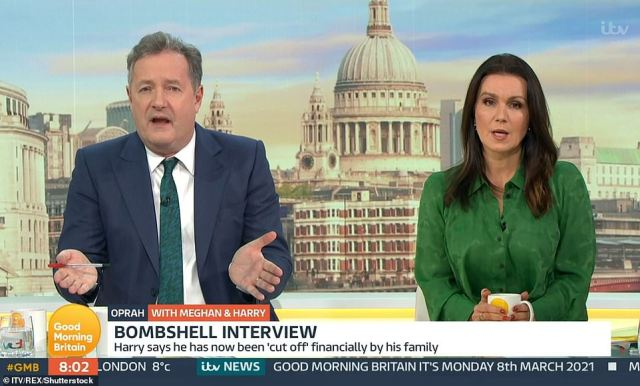 Piers Morgan and GMB have been cleared over a heated debate about Harry and Meghan's Oprah interview where he said that he didn't 'believe a word she says' on March 8 (pictured)